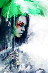Фотография Рисованные Дождь Зонт Девушки