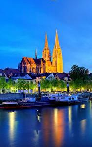 Обои Германия Реки Здания Ночь Бавария Regensburg город