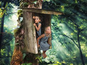 Фотография Креативные Леса Смешная Девочка Вдвоем Платье Дети