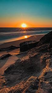 Фотографии Рассвет и закат Побережье Америка Калифорния Солнца