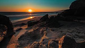 Фотографии Рассвет и закат Берег Штаты Калифорнии Солнца
