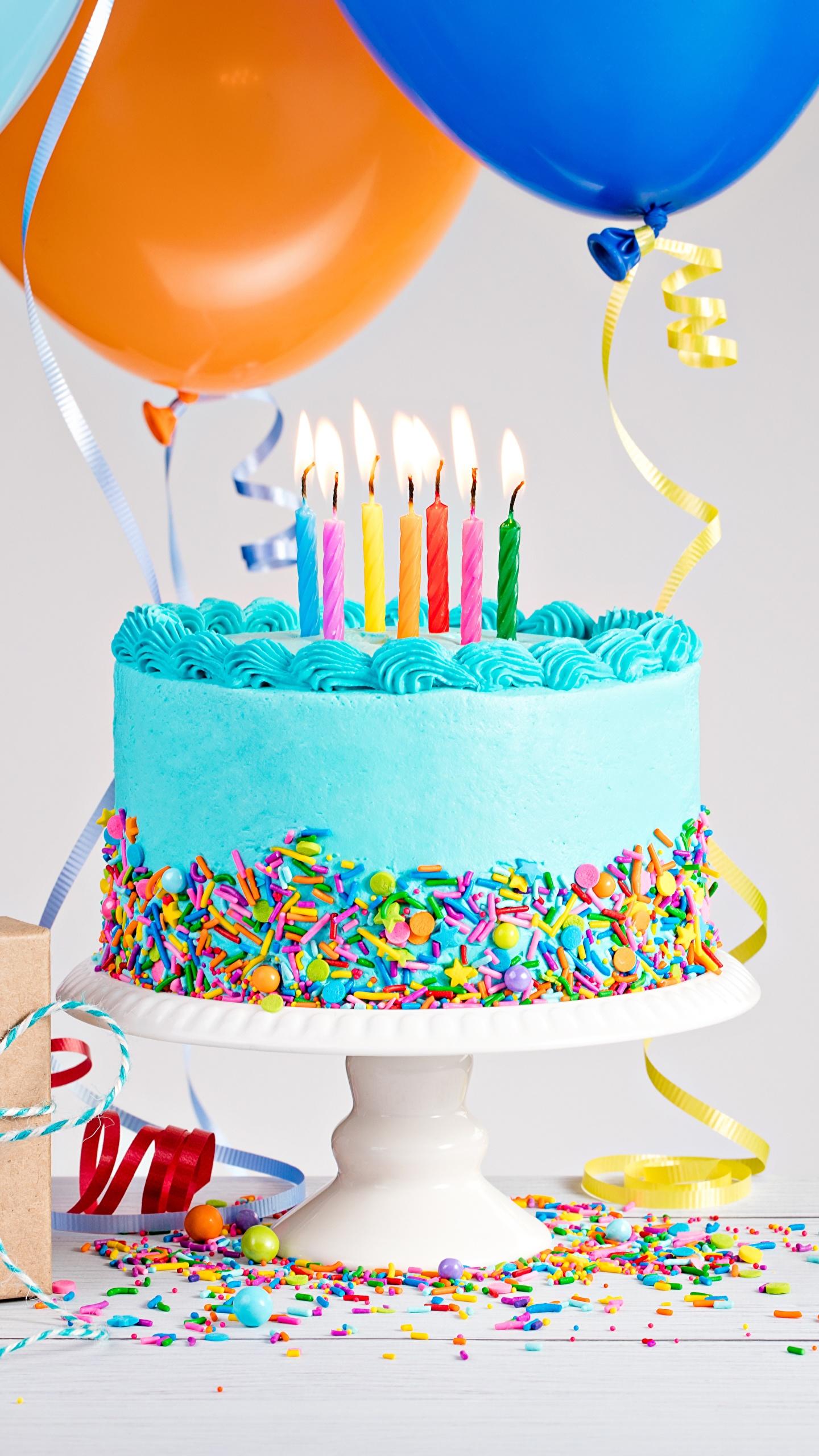 Фото День рождения Торты Пища Свечи 1440x2560 Еда Продукты питания