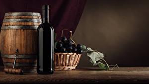 Обои Бочка Вино Виноград Бутылка Корзина Пища