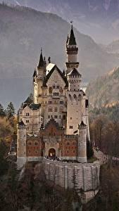 Фотография Осень Леса Замок Нойшванштайн Германия Бавария Природа
