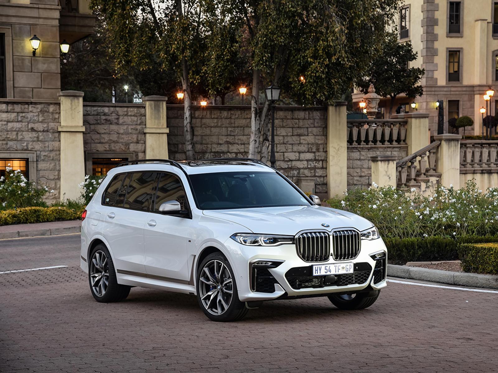 Картинка BMW Кроссовер 2019 X7 M50d Белый машина Металлик 1600x1200 БМВ CUV белая белые белых авто машины Автомобили автомобиль