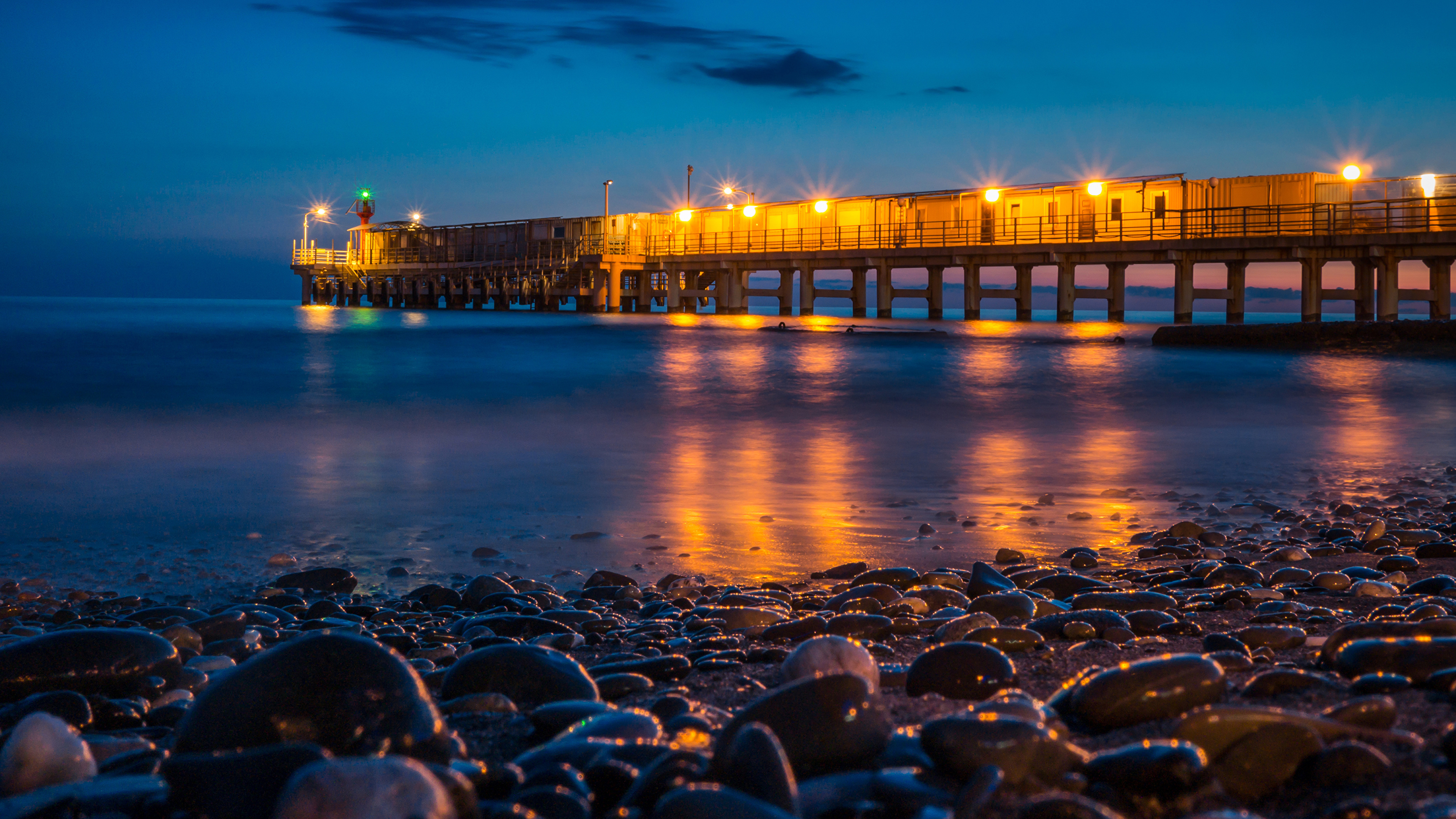 причал фонари берег море pier lights shore sea онлайн