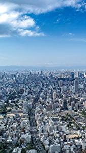 Фотографии Небо Дома Япония Мегаполис Сверху Osaka Города