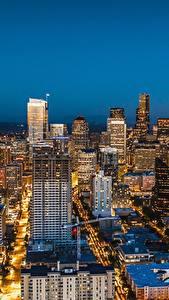Фотография Небоскребы Дома Штаты Сиэтл Мегаполис Ночные Города