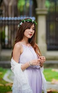 Фотография Азиаты Размытый фон Платья Венком Шатенки молодая женщина