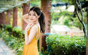 Картинка Азиатки Боке Платья Позирует Миленькие Смотрит