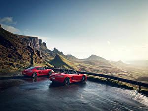 Картинка Porsche Красные 2 Металлик 718 Cayman s, Boxster 718 red машина