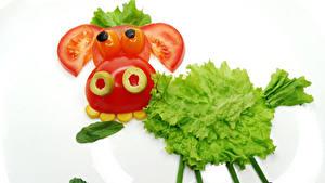 Фото Овощи Коровы Томаты Креатив Белом фоне Дизайна Еда