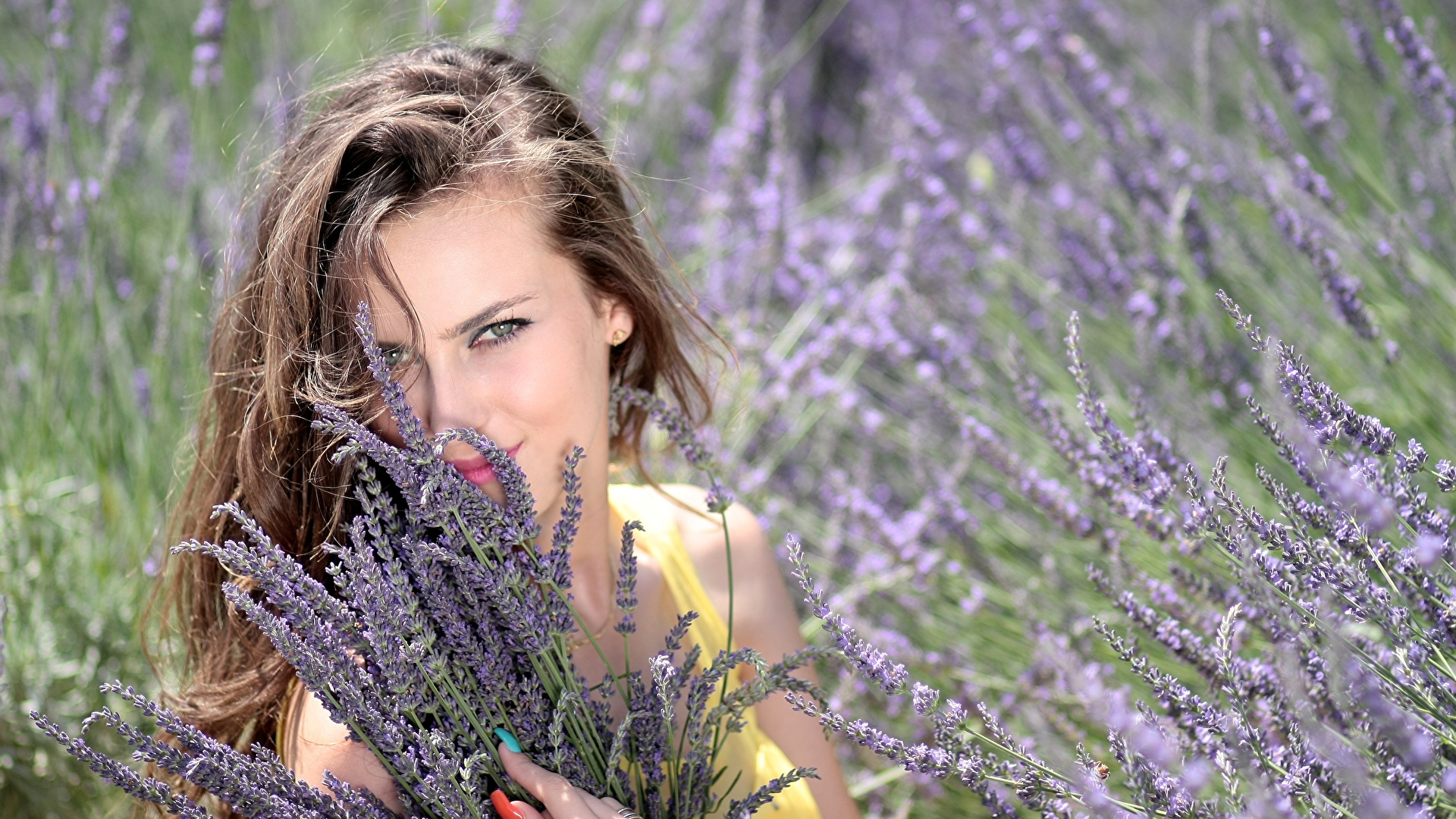 Фото Шатенка Маникюр Улыбка Красивые Девушки Лаванда Взгляд 1920x1080 смотрит