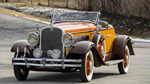 Фотография Ретро Кабриолет Желтый Металлик Родстер 1931 Hudson Greater Eight Sport Roadster машины