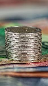 Фото Деньги Монеты Купюры Евро Крупным планом