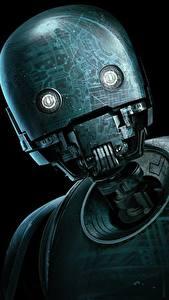 Картинки Изгой-один. Звёздные войны: Истории Робота Черный фон Головы K-2SO кино