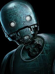 Картинки Изгой-один. Звёздные войны: Истории Робот Черный фон Головы K-2SO Кино