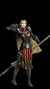 Фото Воин Bladestorm Копья Черный фон Доспехах Nightmare, Philippa (England) компьютерная игра Девушки Фэнтези 3D_Графика