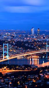 Картинка Стамбул Турция Дома Мост Мегаполис Ночь Города