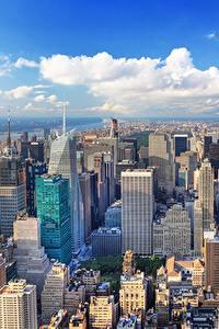 Фотография США Дома Мегаполиса Нью-Йорк Манхэттен Сверху