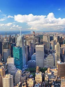 Фотография США Дома Мегаполиса Нью-Йорк Манхэттен Сверху Города