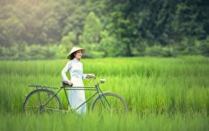 Обои Азиаты Трава Велосипед Брюнетка Шляпа Девушки