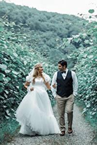 Картинка Мужчины Любовники Тропинка 2 Невесты Платья Улыбается Женихом