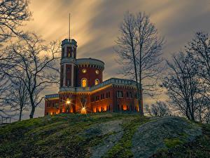 Фото Швеция Стокгольм Замки Вечер Дерево Kastellholmen