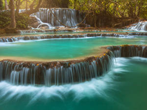 Фотография Водопады Утес Kuang Si Falls Laos