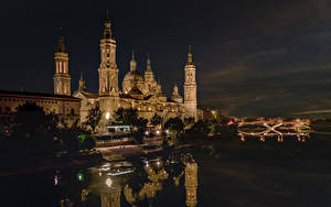 Обои Испания Здания Речка Ночные Zaragoza Города
