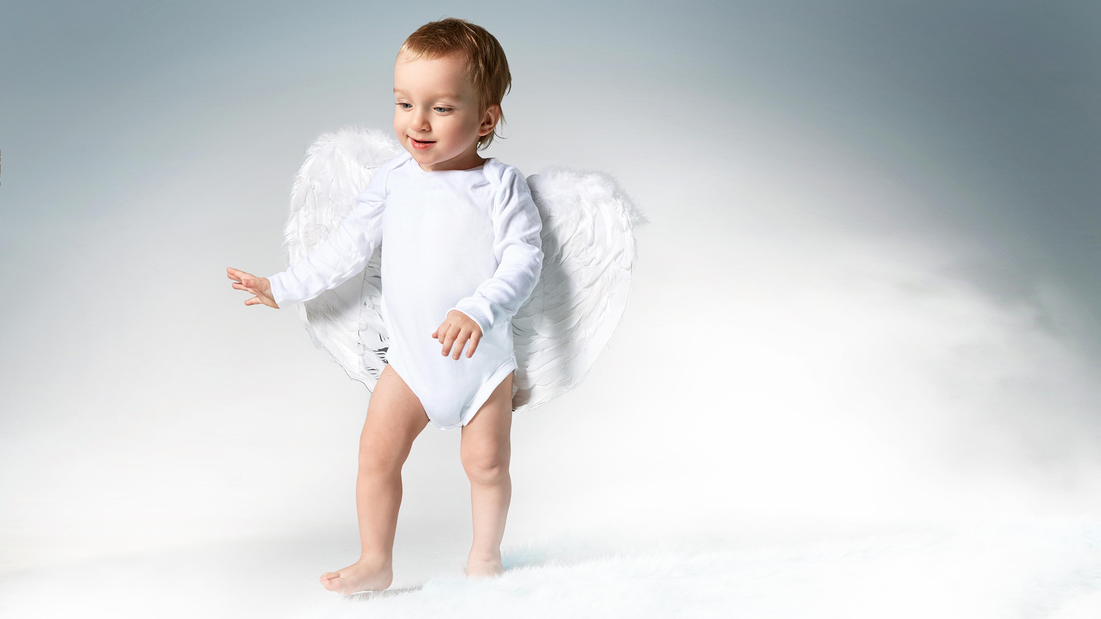 Фотография мальчишка грудной ребёнок Крылья Дети Ангелы 3840x2160 мальчик Мальчики младенца Младенцы младенец мальчишки Ребёнок