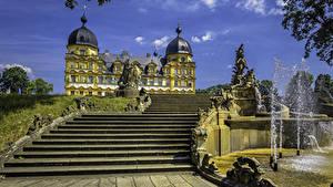 Обои Германия Скульптуры Фонтаны Дворца Лестницы Seehof Palace Memmelsdorf