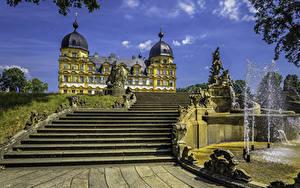 Обои Германия Скульптуры Фонтаны Дворца Лестницы Seehof Palace Memmelsdorf город