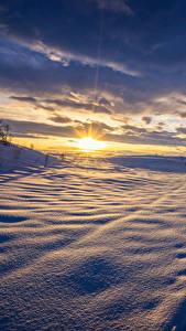 Фотографии Пейзаж Зима Рассветы и закаты Небо Снег Облака Природа