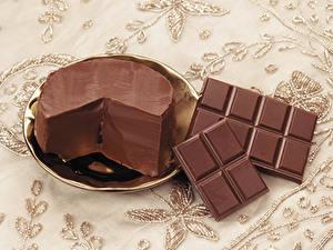 Фотографии Шоколад Масло Тарелка Пища