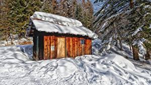 Картинка Гора Лес Франция Снега Дерево Massif des Bauges, Savoie Природа