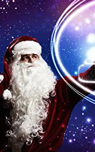 Фото Рождество Санта-Клаус Униформа Борода Снежинки