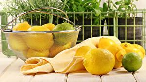 Картинки Лимоны Лайм Доски Корзина Продукты питания