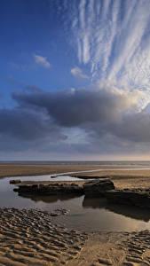 Фотография Великобритания Побережье Камень Небо Облако Песка Лужа Уэльс Dunraven Bay Природа