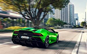 Фотография Ламборгини Сзади Зеленая Родстер Скорость Салатовая Spyder Evo Huracan