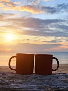 Фотография Рассветы и закаты Небо Море Кружка Вдвоем Пляж Песок