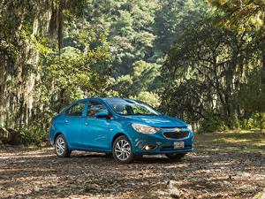 Картинки Chevrolet Голубые Металлик 2018-20 Aveo Автомобили