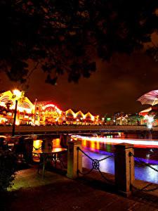 Фотографии Сингапур Мост Дома Ночью Уличные фонари Ограда город