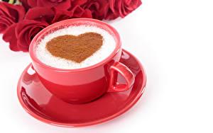 Фотография День святого Валентина Кофе Розы Белый фон Чашка Сердце Красный Блюдце Еда