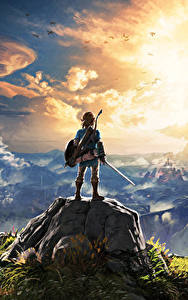 Фотография The Legend of Zelda Горы Воители Пейзаж Облако Breath of the Wild компьютерная игра Фэнтези