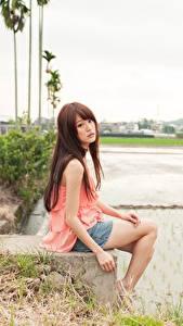 Обои Азиатки Шатенки Сидя Боке Девушки