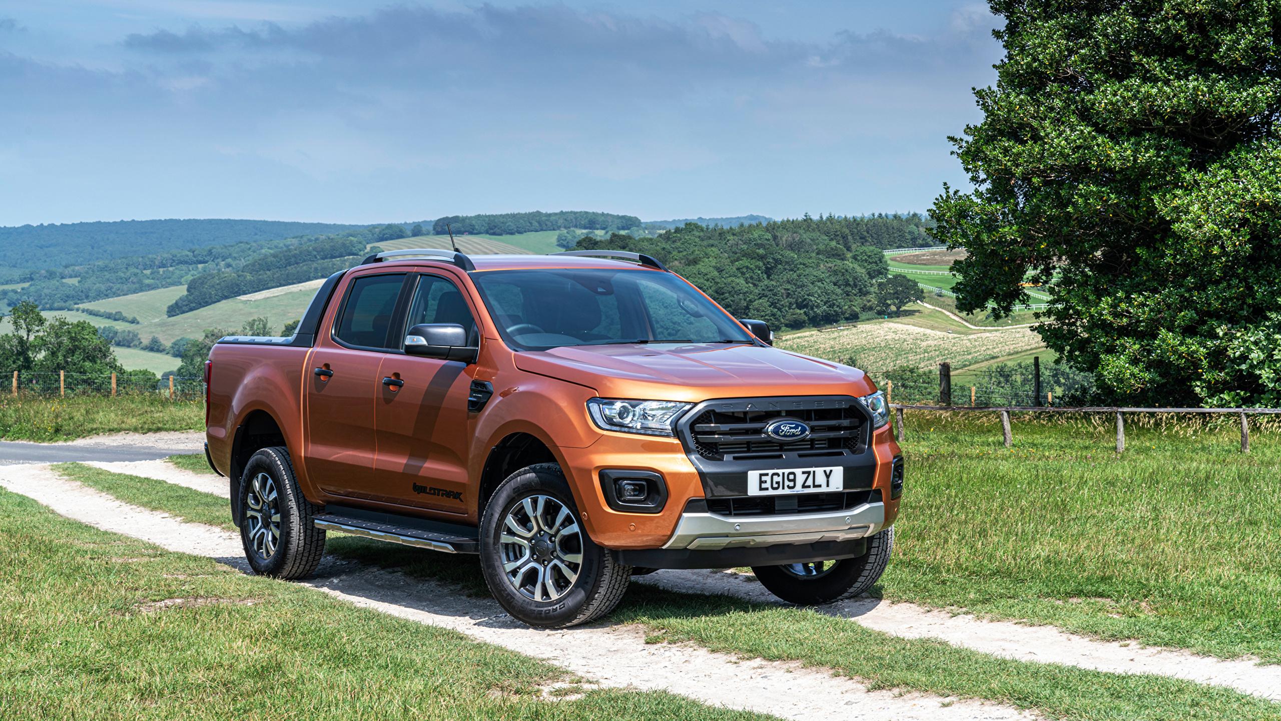Картинка Форд Ranger Wildtrak UK-spec, 2019-- Пикап кузов коричневая машина Металлик 2560x1440 Ford коричневые Коричневый авто машины Автомобили автомобиль