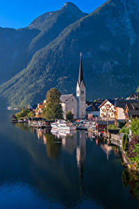 Картинки Австрия Дома Озеро Горы Причалы Халльштатт Побережье Города