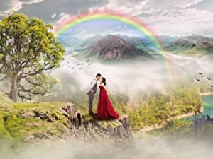 Фото Замки Горы Любовники Мужчины Радуга Деревья 2 Фантастика