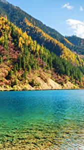 Фото Цзючжайгоу парк Китай Парки Озеро Осенние Горы Леса Пейзаж Природа
